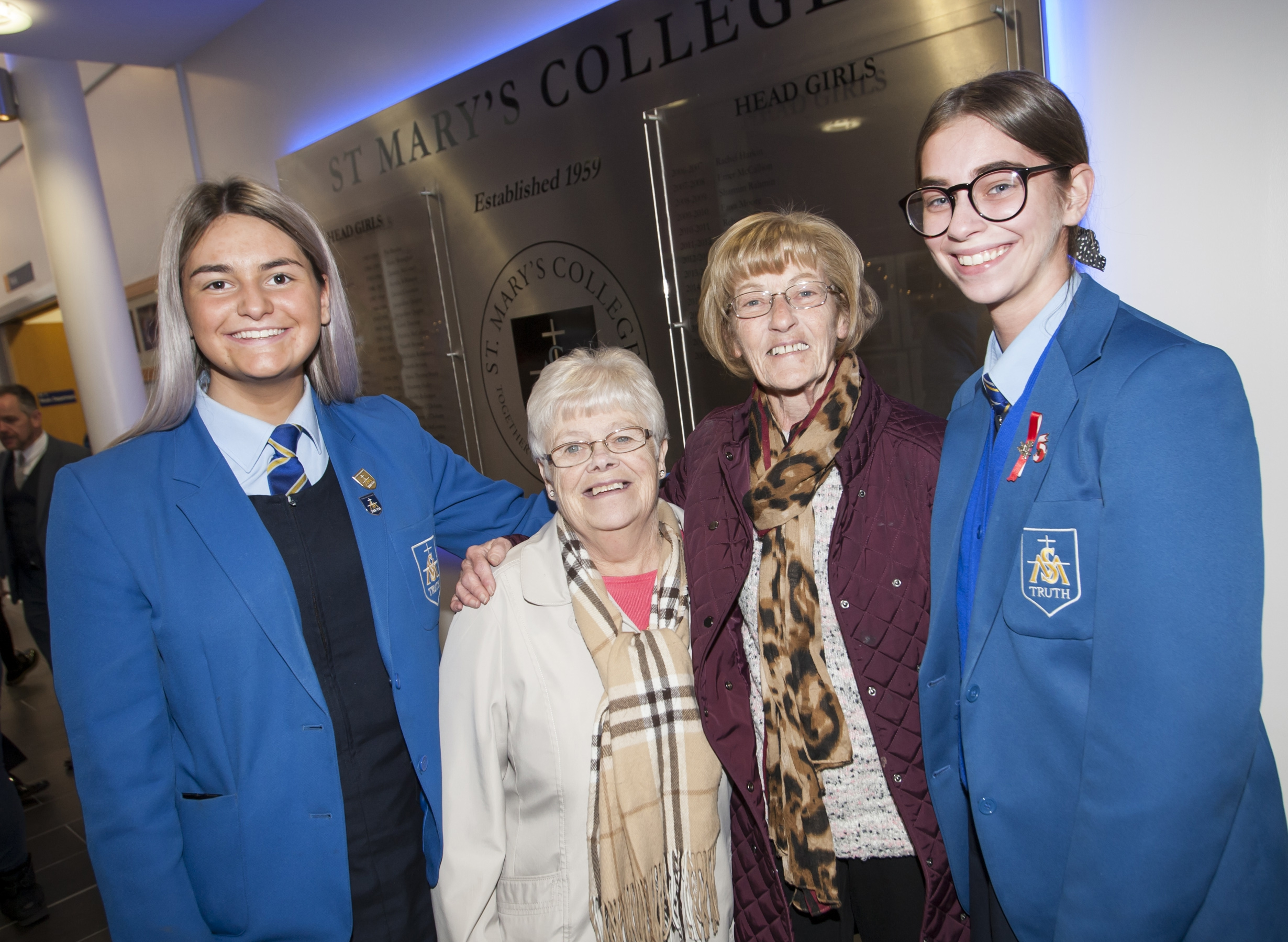 Mary Carlin (nee Clarke) and Rosaleen McLaughlin, past pupils pictured with current students Mollie McMonagle and Ciara Hasson on Friday.