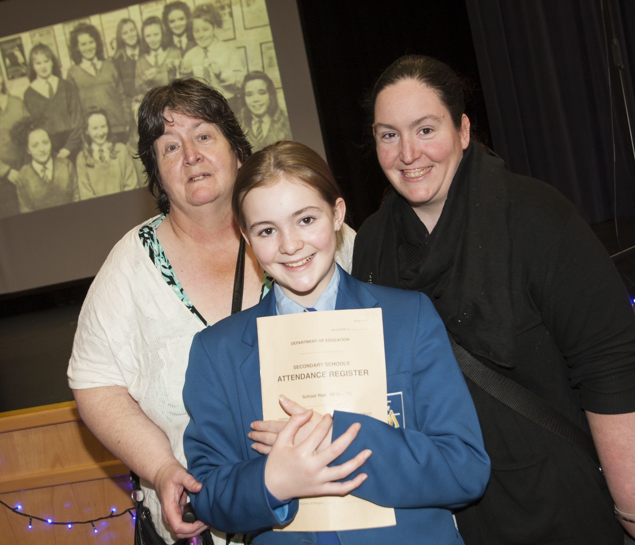 THREE GENERATIONS. . . .Pictured at the St. Mary's College 60th anniverary exhibition on Friday are Rosemary Lynch, Deborah Anne Lynch-Coyle and Roseanne Lynch-Coyle.