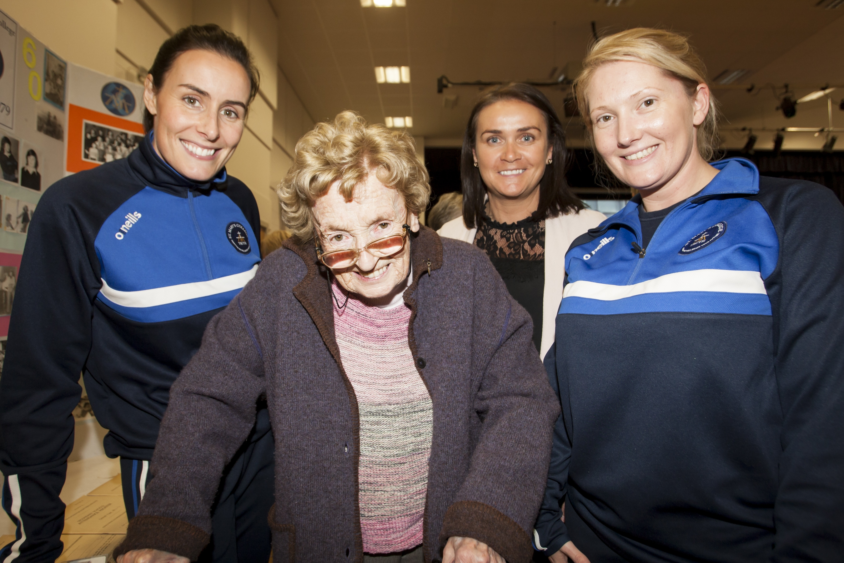 The first PE teacher at St. Mary's College in 1959, Ms. Dorett Gillen pictured with the present PE staff, Claire Bell, Colleen Gibbons and Jenny Martin on Friday.