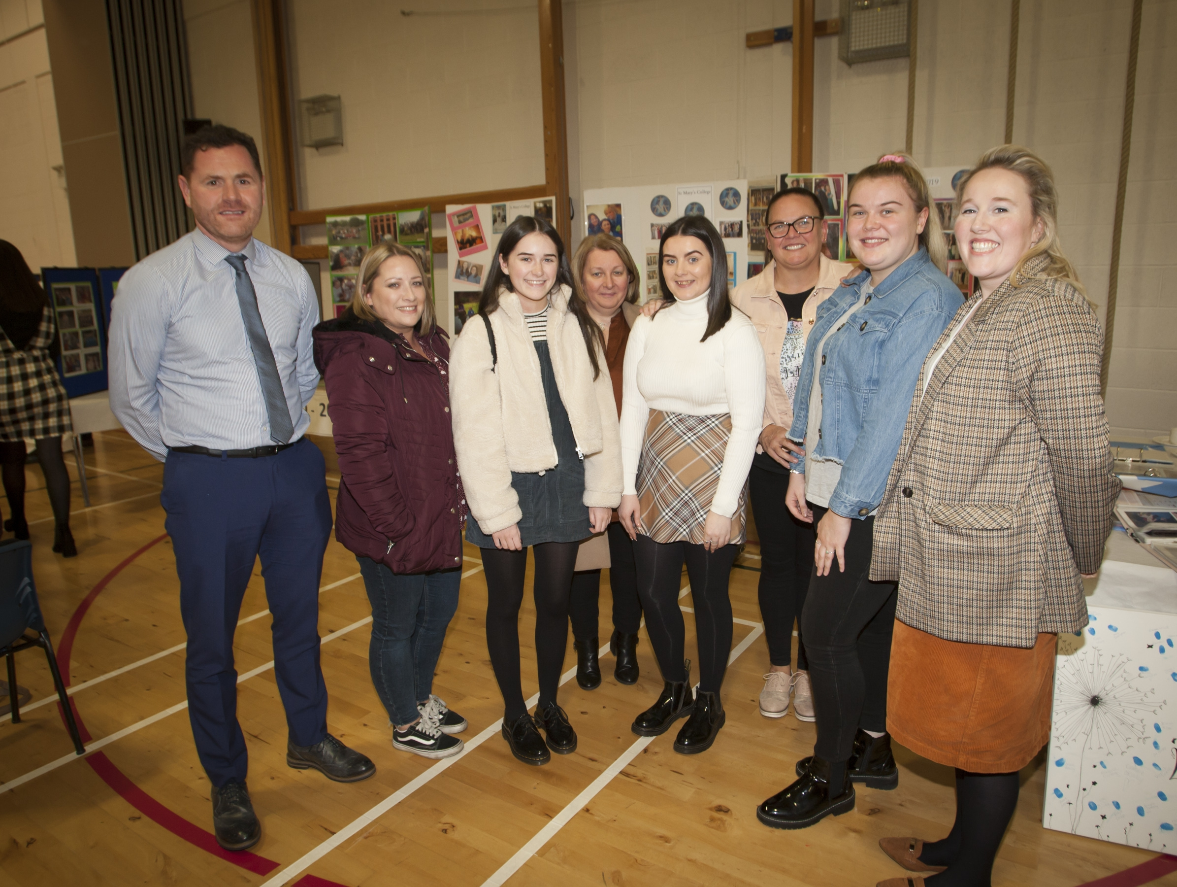 Group pictured at the St. Mary's College 60th Anniversary Exhibition at the school on Friday. From left, Mr. Conor Lynch, teacher, Julie McGuinness and her daughter Sarah, Angela McCallion and her daughter Lauren, Sharon Knox and daughter Shannon and Mrs. Caroline Rogan, teacher.