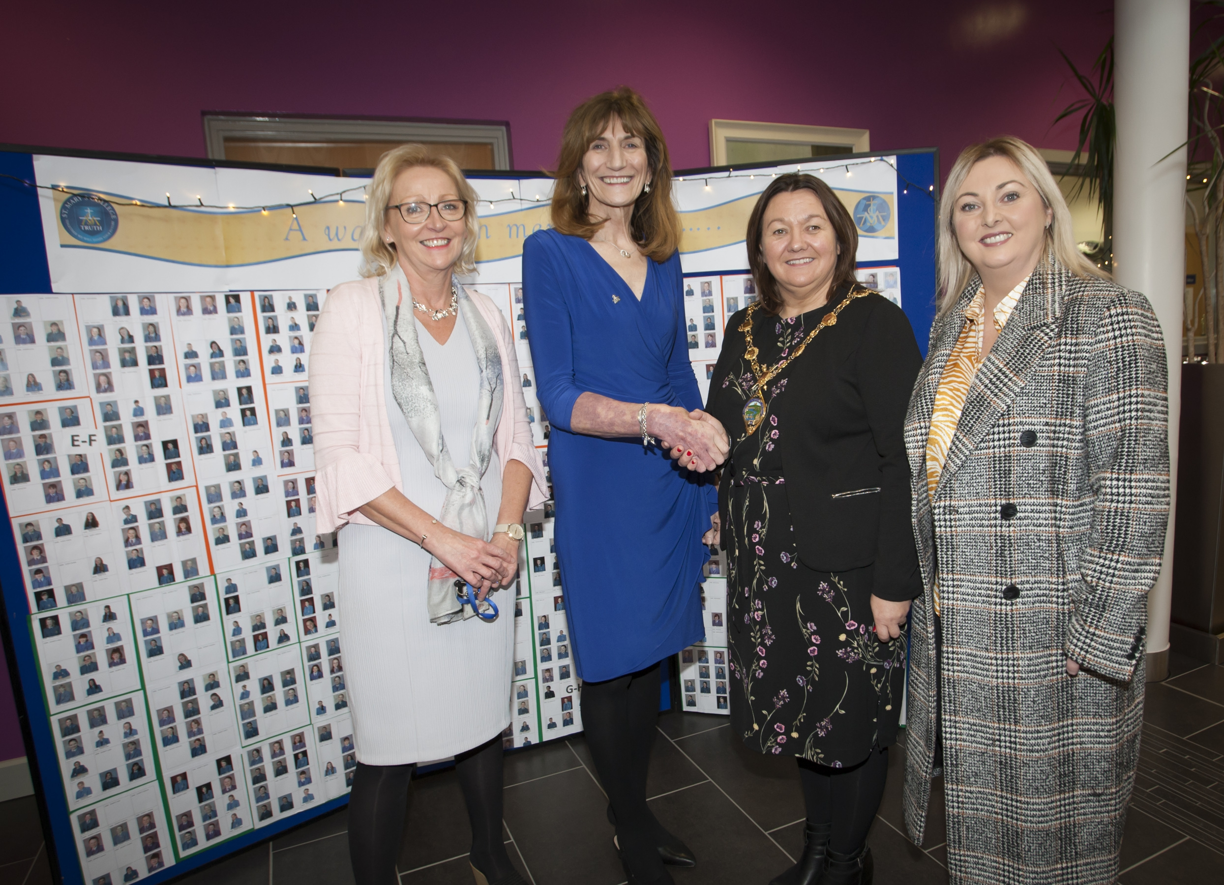 Mrs. Marie Lindsay, Principal, St Mary's College, welcoming the Mayor of Derry City and Strabane District Council, Michaela Boyle to the school's 60th Anniverary Exhibition on Friday afternoon. Included in photo is Mrs. Finola Downey, Office Manager and Karen Mullan, Foyle MLA.