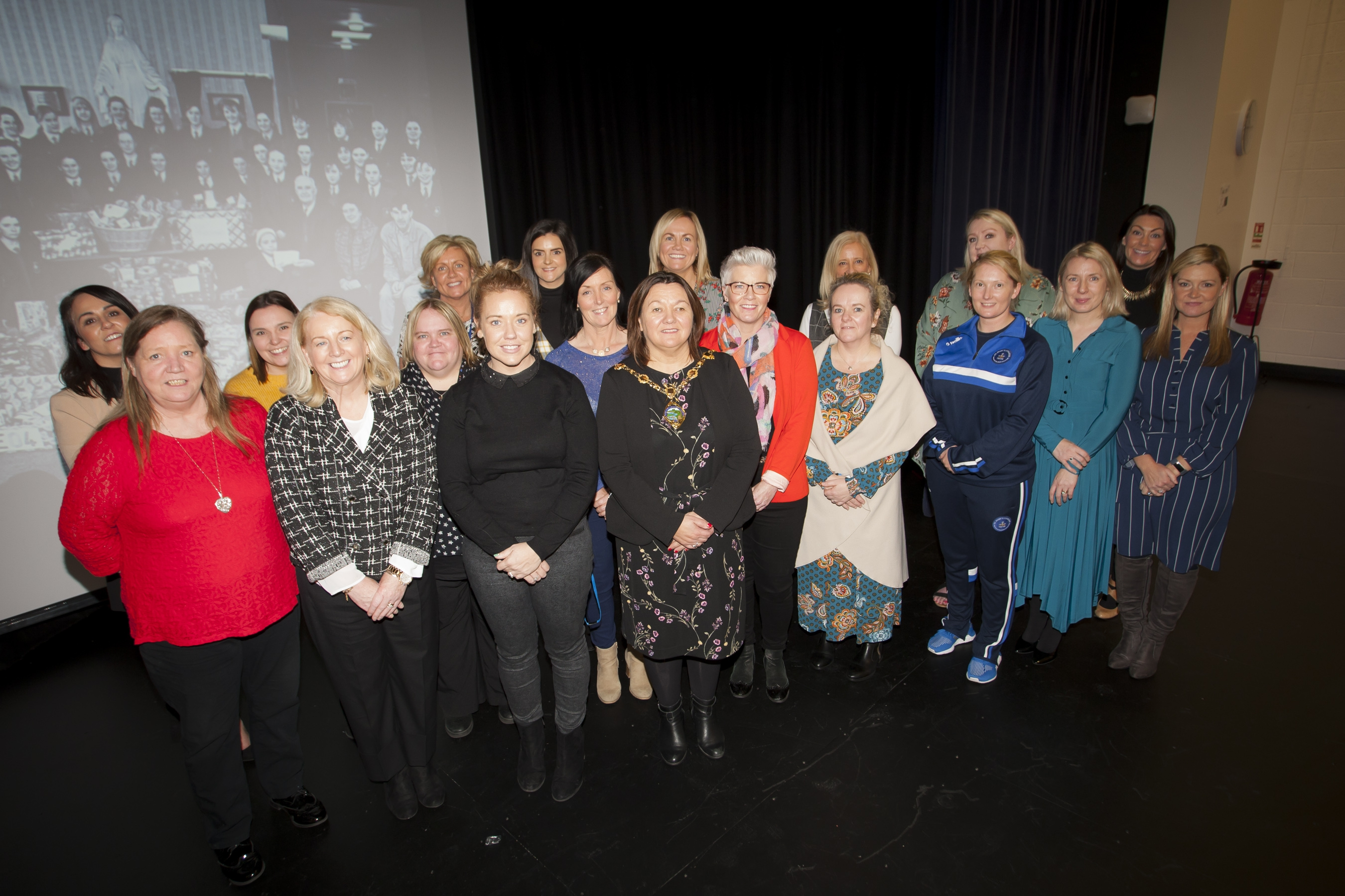 Mayor of Derry City and Strabane District Council, Michaela Boyle pictured at St. Mary's College's 60th Anniverary Exhibition on Friday with staff members who were former pupils at the school. (Photos: Jim McCafferty Photography)