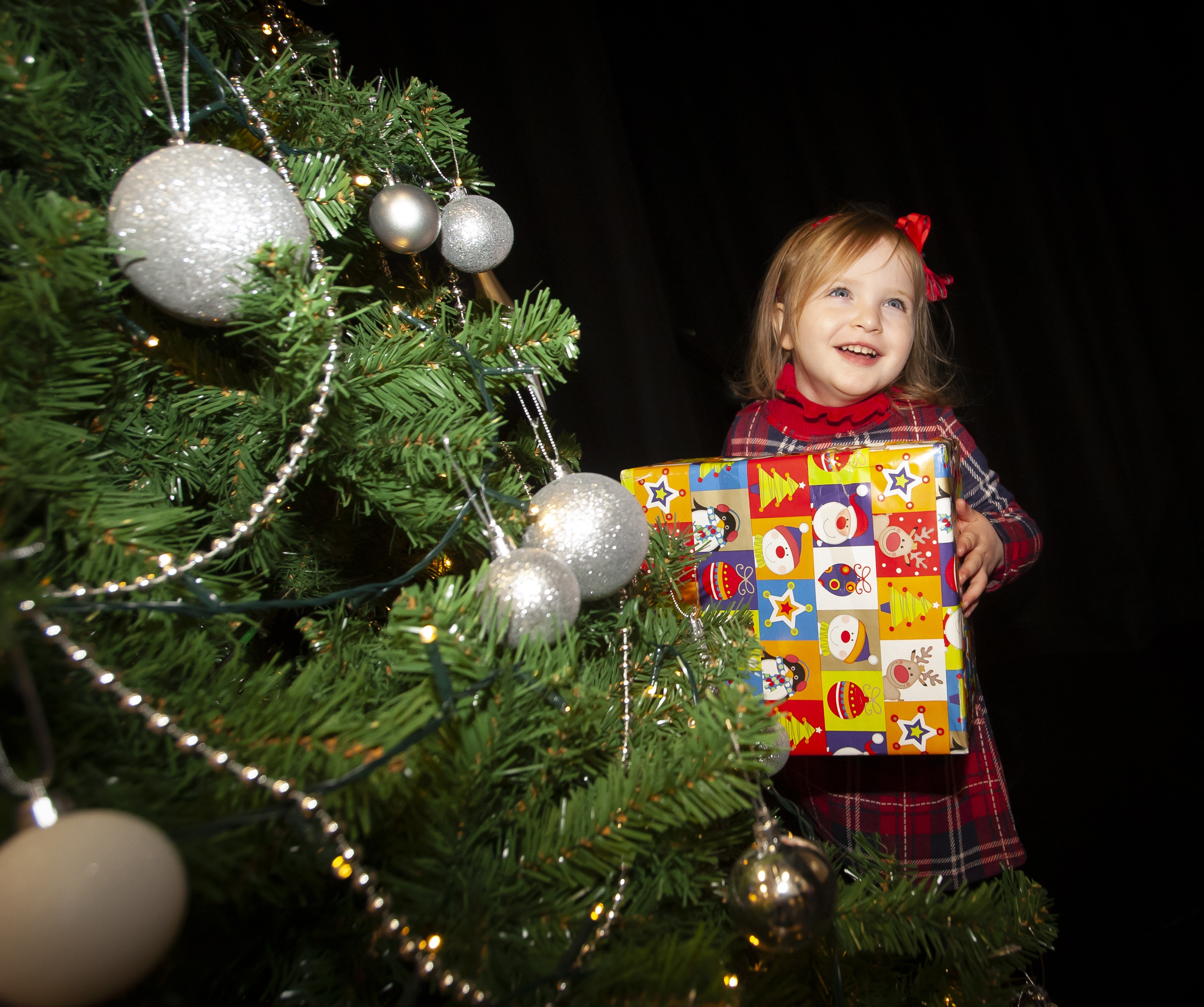 Playing 'Hide and Seek' with the photographer during Saturday's St. Mary's Annual Christmas Craft Fair is little Miss Clara Grace Kelly (3). Photos: Jim McCafferty Photography