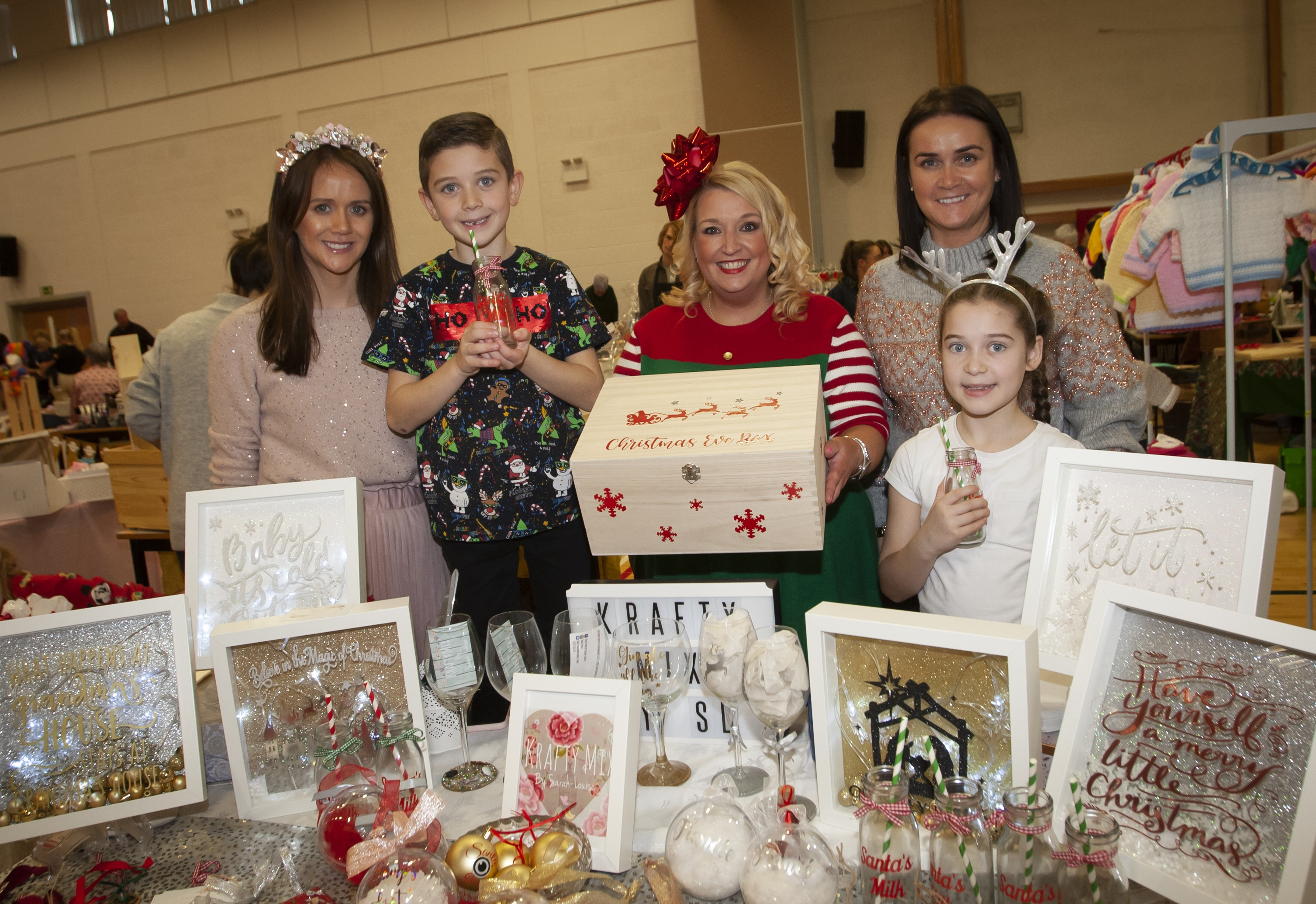 Pictured at the Krafty Mix stall during Saturday's St. Mary's Annual Christmas Craft Fair are from left, Sarah Louise Nolan, Roisin Rice, Colleen Gibbons and Colleen's children Kian and Darcy.