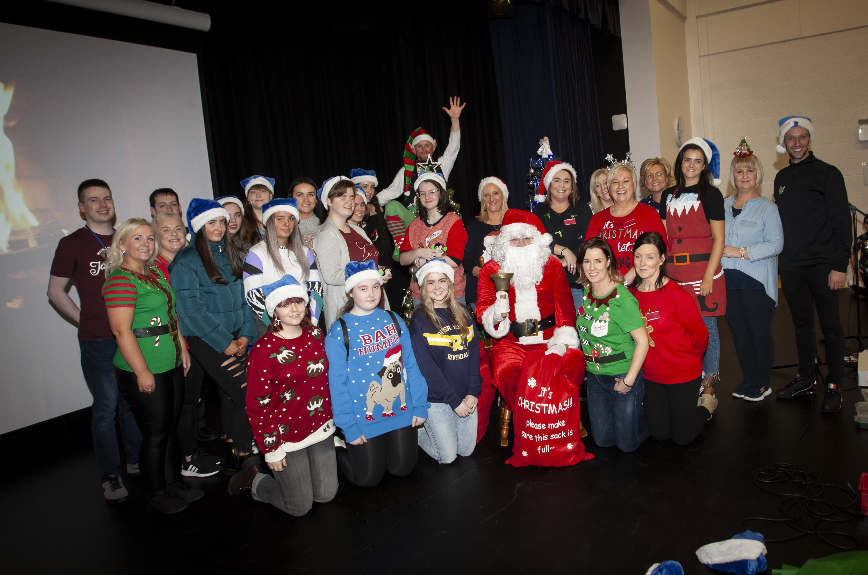 Some of the staff and pupils pictured with Santa Claus during Saturday's St. Mary's Annual Christmas Craft Fair at the school. (Photos: jim McCafferty Photography)