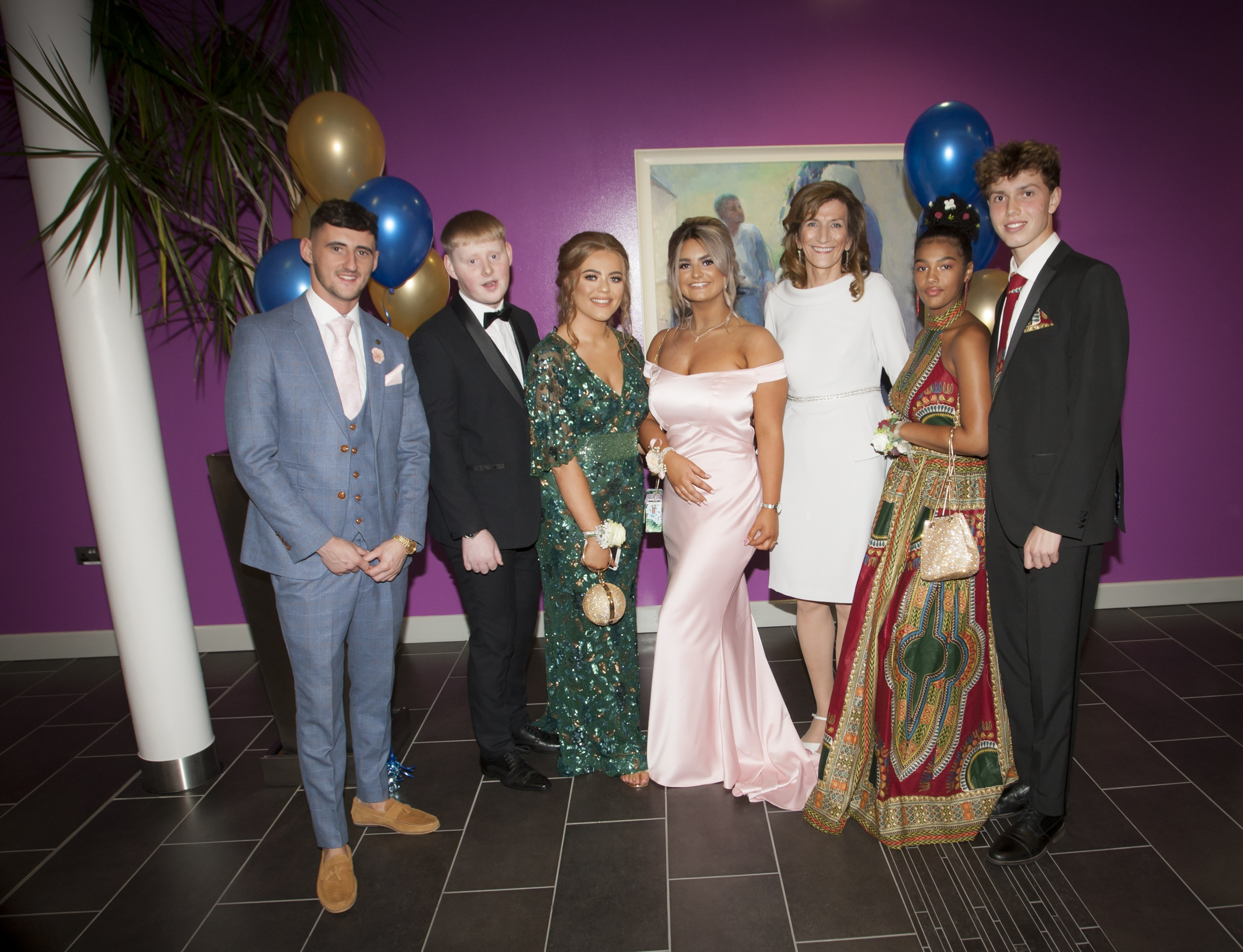 St. Mary's College Principal Marie Lindsay pictured with Jason Wylie, Shea Harrigan, Mollie McMonagle, Brianna Corcoran, Ellen Glackin and Donncha Gilmore on Thursday night. (Photos: Jim McCafferty Photography)